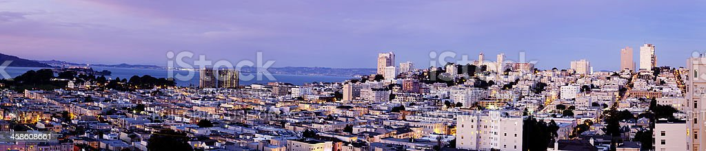 Panoramic view of San Fransisco at sunset stock photo