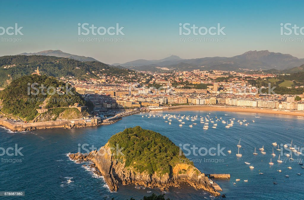Panoramic view of San Sebastian in Basque Spain stock photo