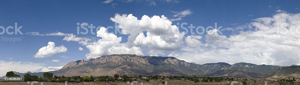 Panoramic View of Sandia Mountains with Blue Sky and Clouds stock photo