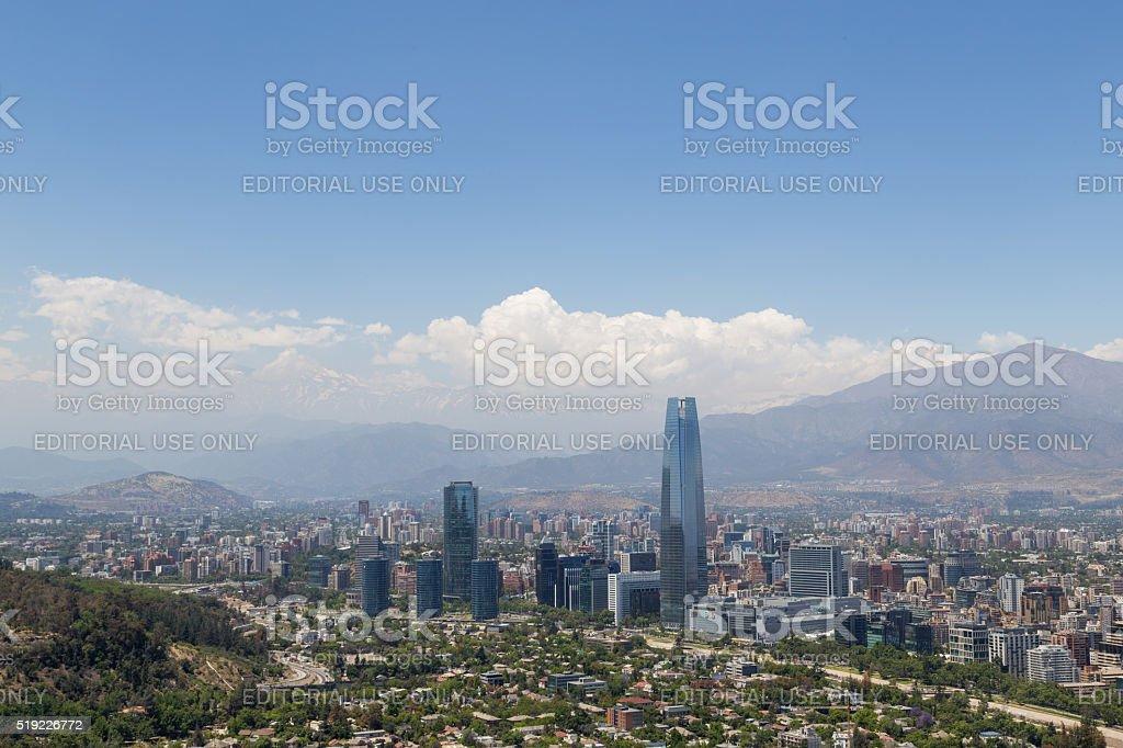 Panoramic view of Santiago de Chile stock photo