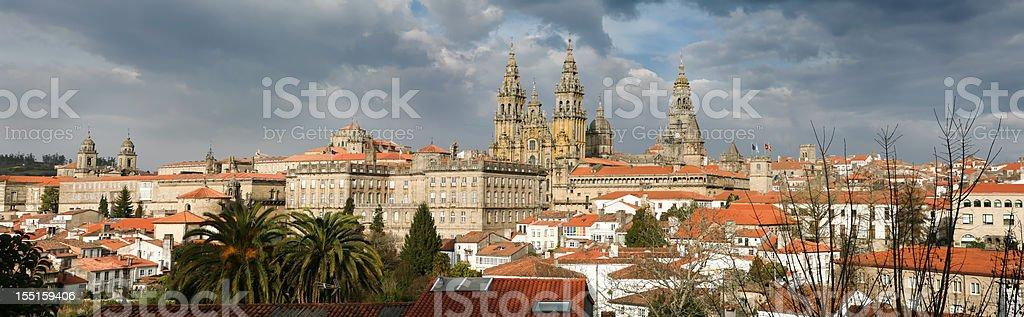 Panoramic view of Santiago de Compostela stock photo