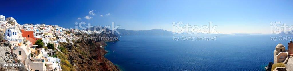 Panoramic view of Santorini village stock photo