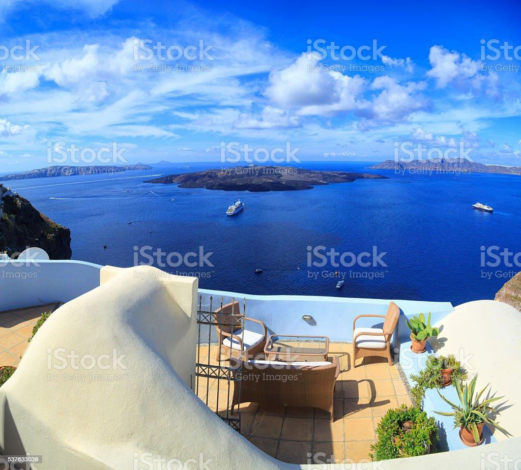 Panoramic view of Santorini volcano islands, Greece stock photo