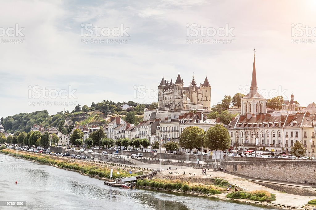 Panoramic view of Saumur - Loire Valley (France) stock photo