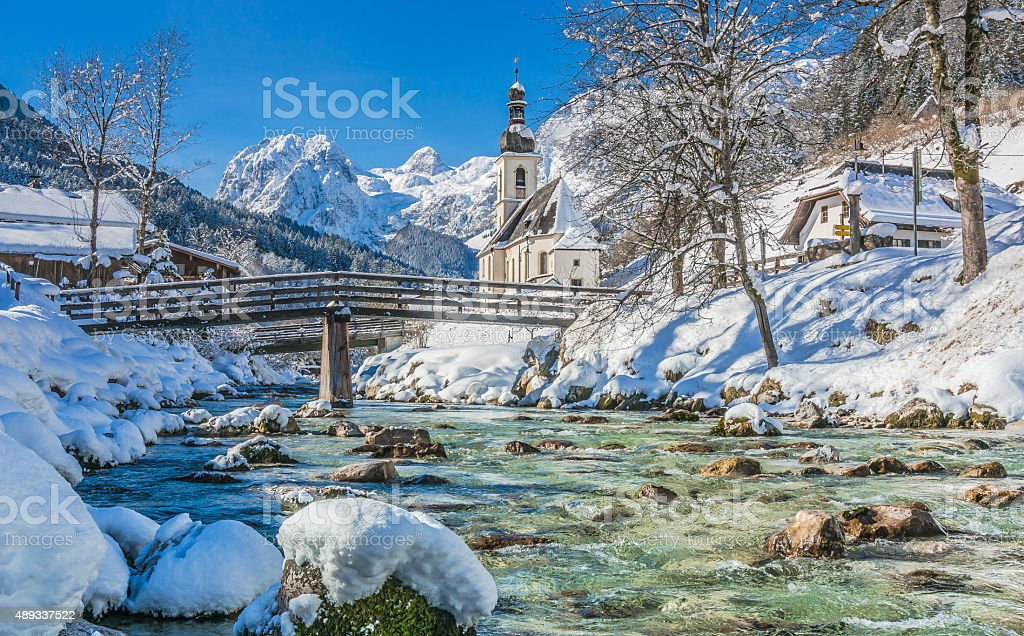 Panoramic view of scenic winter landscape in the Bavarian Alps stock photo