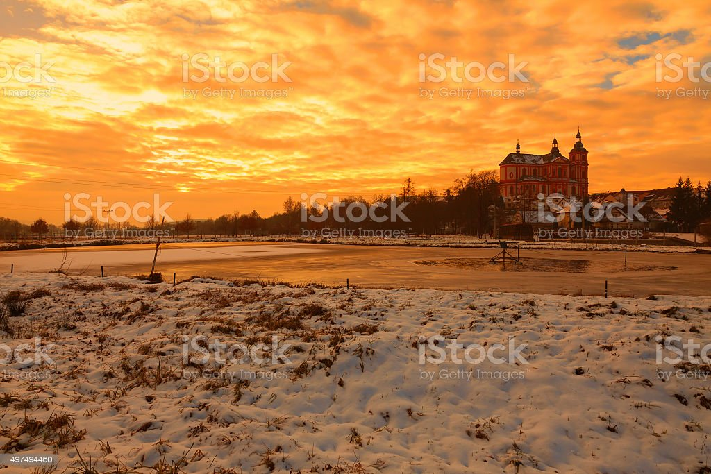 Panoramic view of scenic winter landscape, sunset sky stock photo