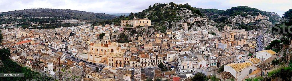 Vista panoramica di Scicli dalla Chiesa di San Matteo stock photo