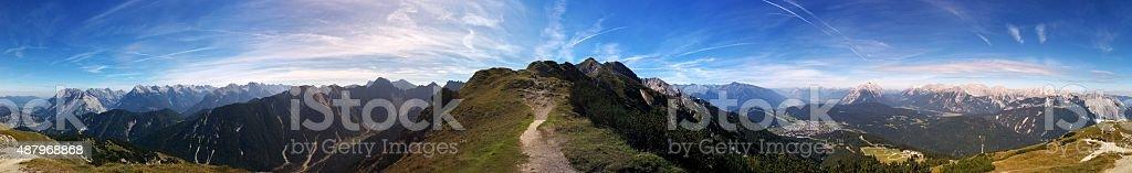 Panoramic View of Seefeld in Tirol stock photo