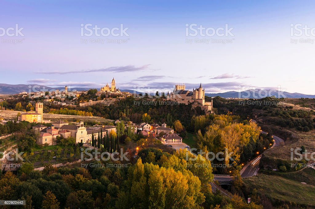 Panoramic view of Segovia (Castilla y León, Spain) stock photo