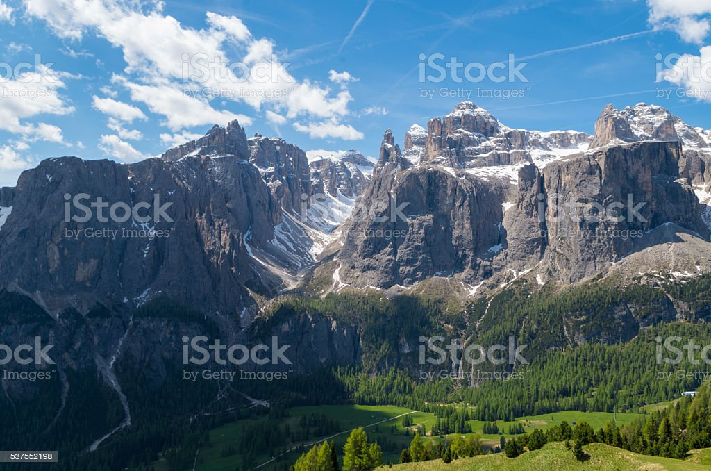 panoramic view of Sella Group in Dolomites, Italy stock photo