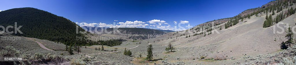 Panoramic view of semi-desert hills near Fraser Canyon, BC stock photo