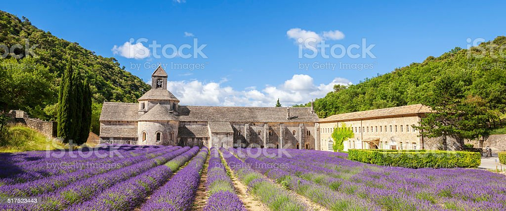 Panoramic view of Senanque Abbey stock photo