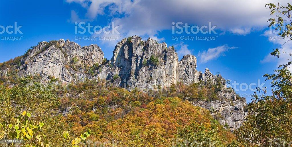 Panoramic view of Seneca Rocks in West Virginia in autumn royalty-free stock photo