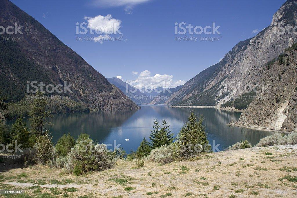 Panoramic View of Seton Lake stock photo