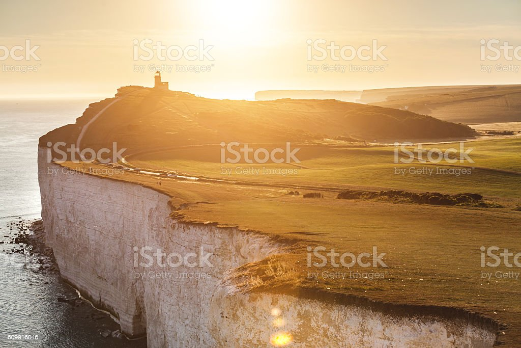 Panoramic view of Seven Sisters cliffs at sunset stock photo