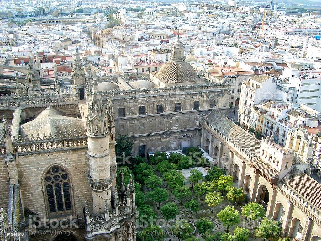 Panoramic View of Sevilla from the Giralda Bell Tower stock photo