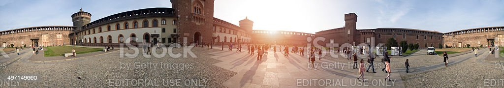 Panoramic view of Sforza Castle in Milan (Italy) stock photo