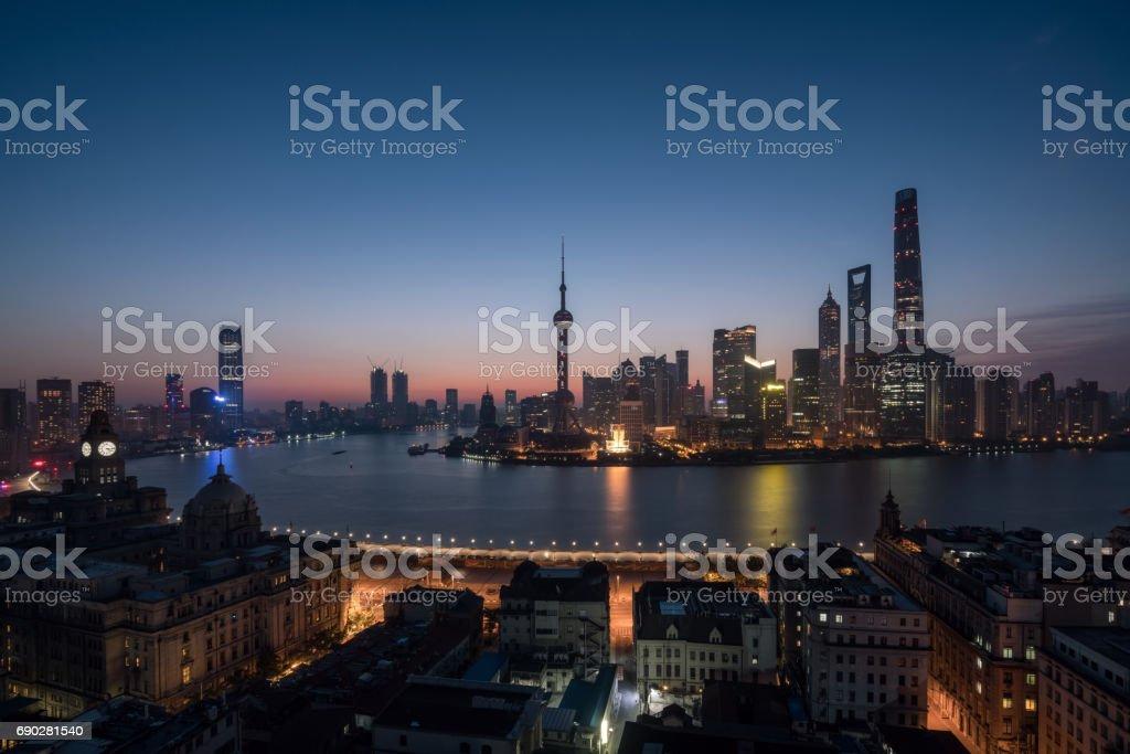 panoramic view of shanghai skyline and huangpu river in sunrise , China stock photo