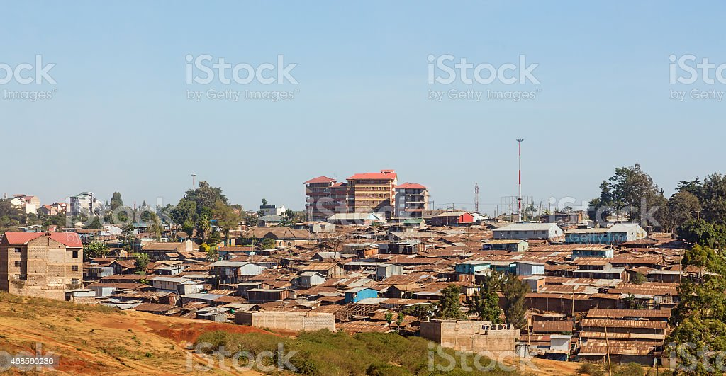 Panoramic view of Shanty town against a gray sky stock photo