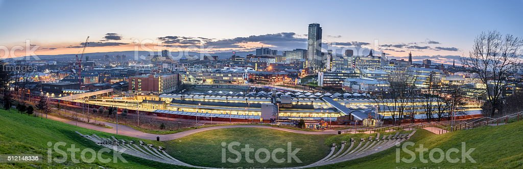 Panoramic view of Sheffield stock photo
