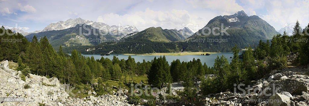 Panoramic view of Sils Lake. stock photo
