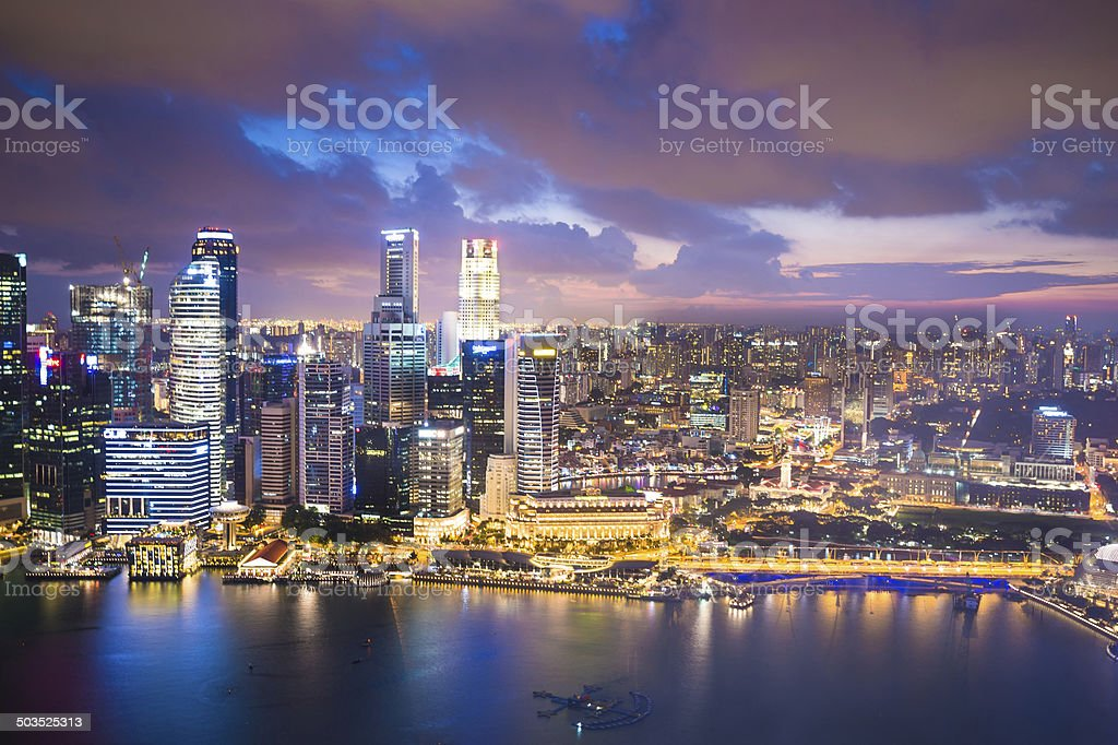 Panoramic View of Singapore at Dusk royalty-free stock photo