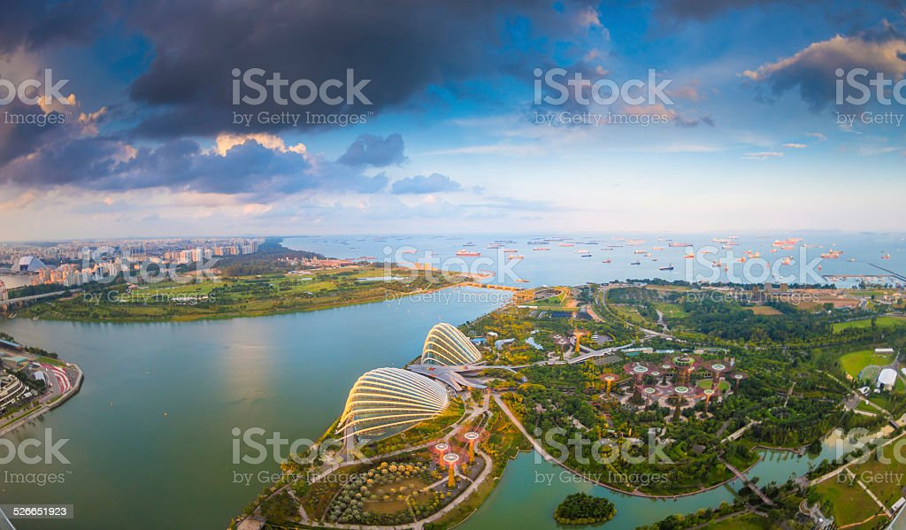 Panoramic View of Singapore at Dusk stock photo