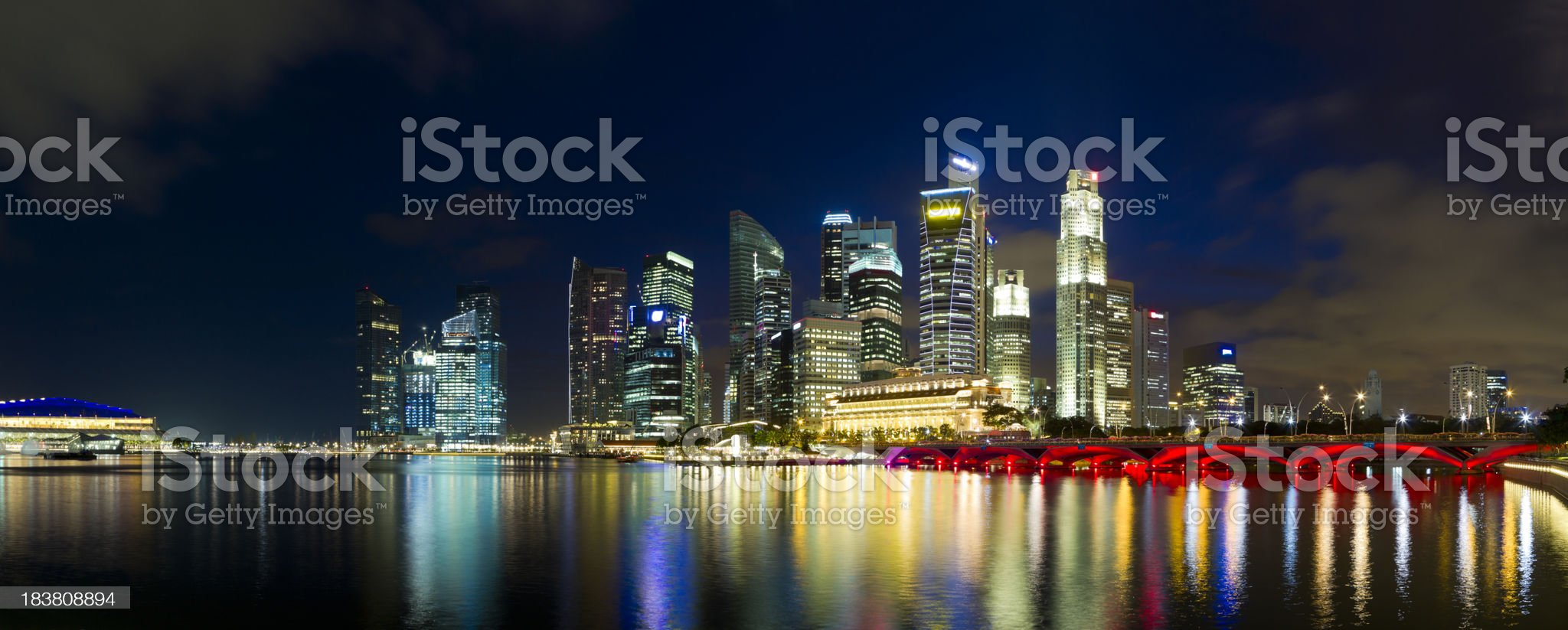 Panoramic View of Singapore at Twilight royalty-free stock photo