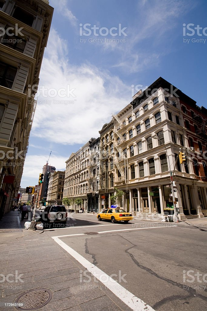 Panoramic view of SoHo street on a sunny day stock photo