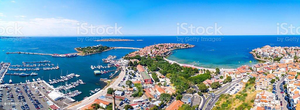 Panoramic view of Sozopol, Bulgaria stock photo