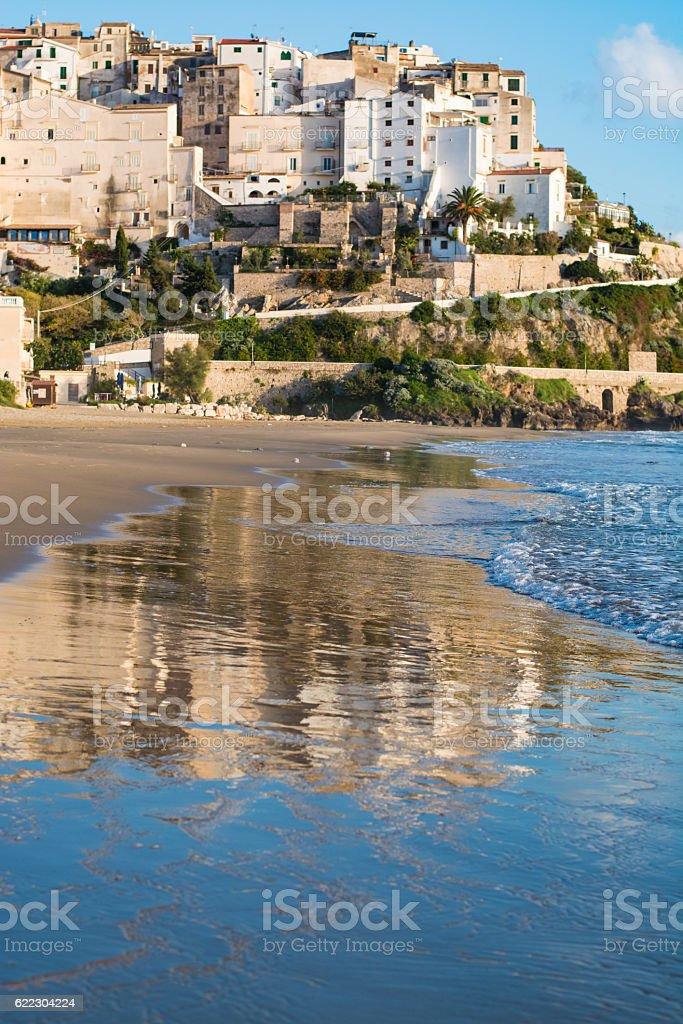 Panoramic view of Sperlonga and beautiful sandy beach. Italy stock photo