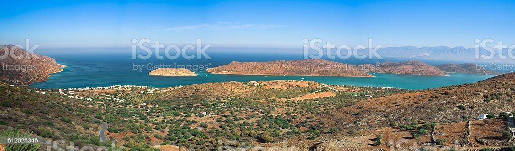 Panoramic view of Spinalonga and the gulf of Elounda stock photo