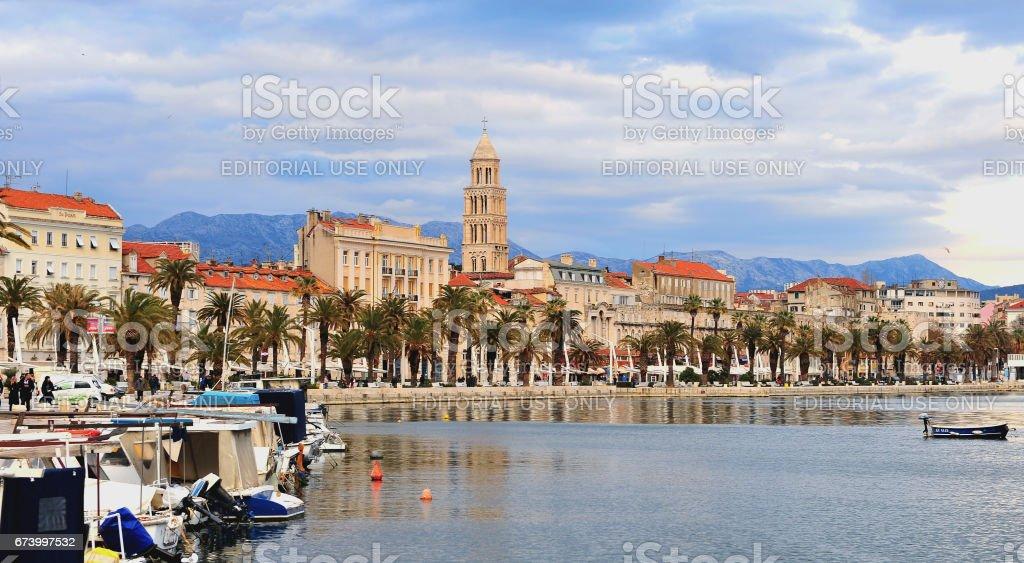 Panoramic view of Split town stock photo