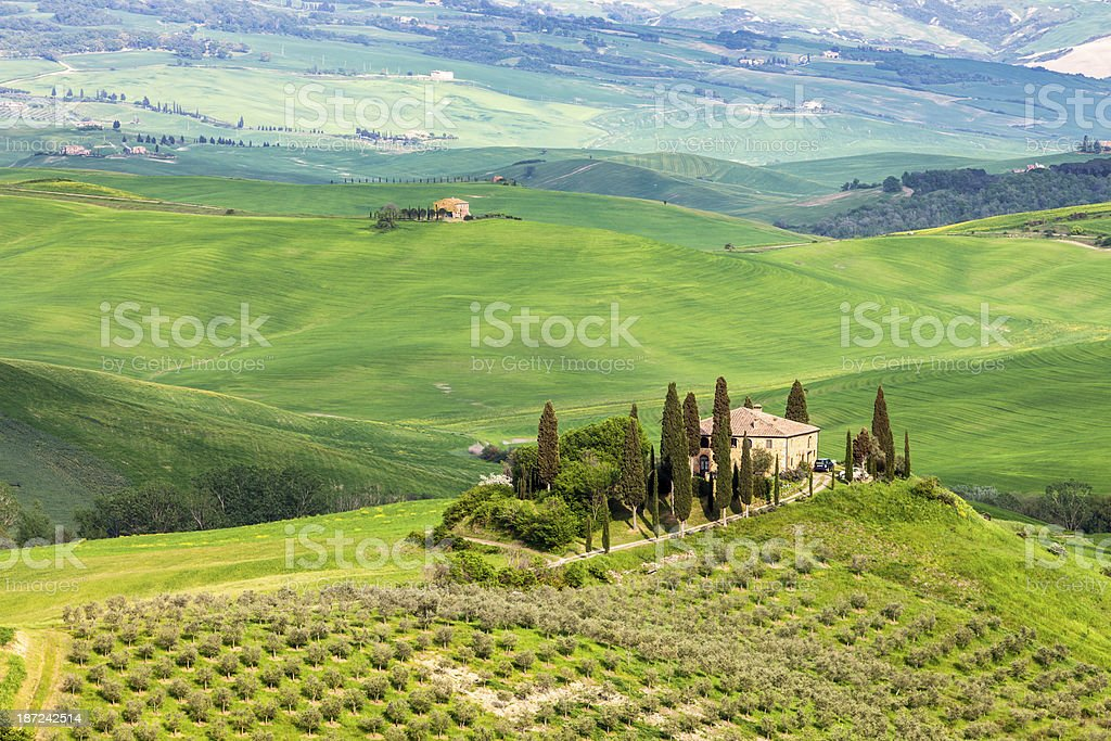 Panoramic View of Spring Landscape in Tuscany, Italy stock photo
