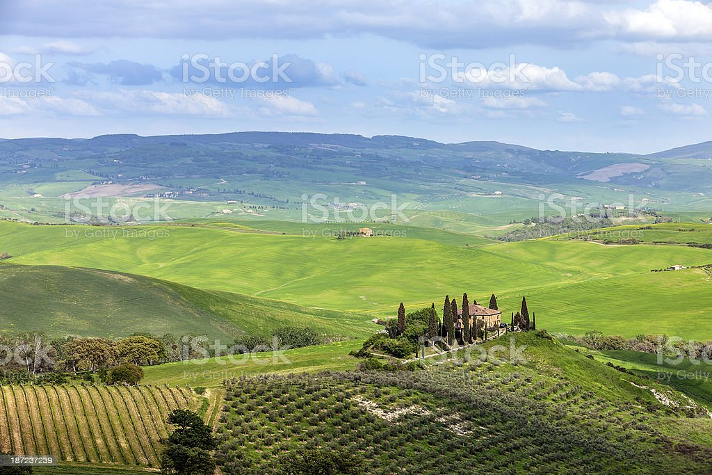 Panoramic View of Spring Landscape, Tuscany, Italy royalty-free stock photo