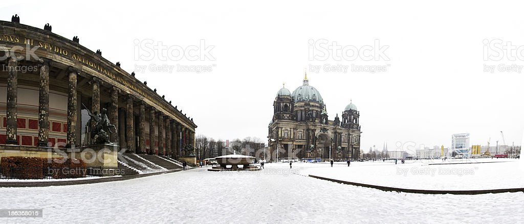 Panoramic view of square dome in Berlin stock photo