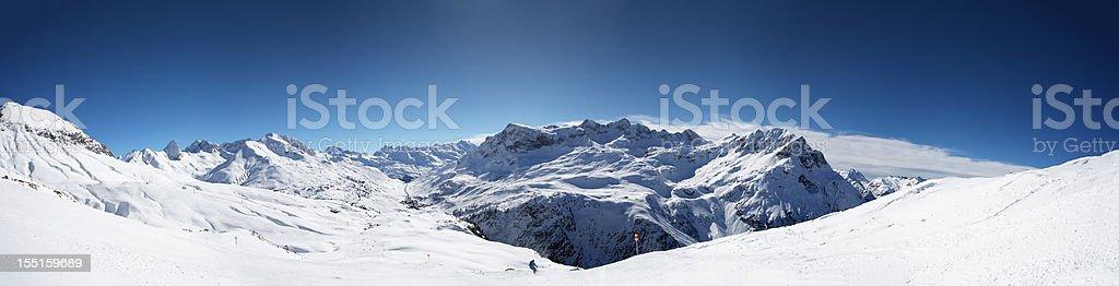 Panoramic view of St. Anton am Arlberg ski area royalty-free stock photo