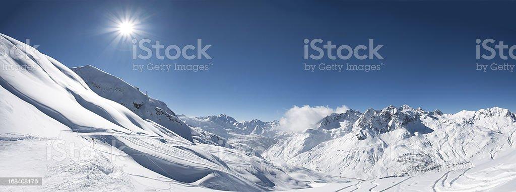 Panoramic view of St. Anton am Arlberg ski area stock photo