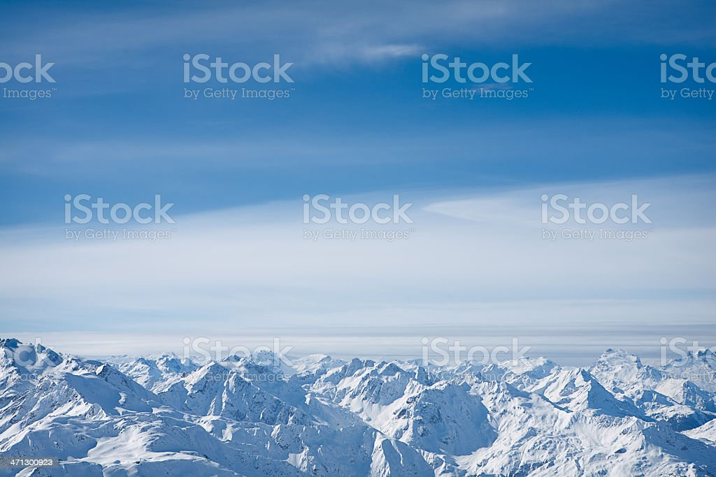 Panoramic view of St. Anton am Arlberg ski area royalty-free stock photo
