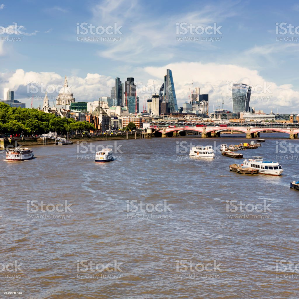 Panoramic view of St Pauls Cathedral, City of London and Blackfriars Bridge at day stock photo