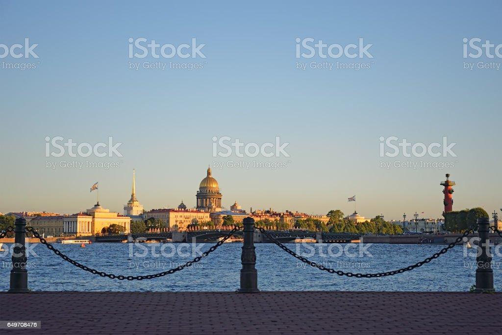 Panoramic view of St. Petersburg with Sachigo Islands, the arrow stock photo