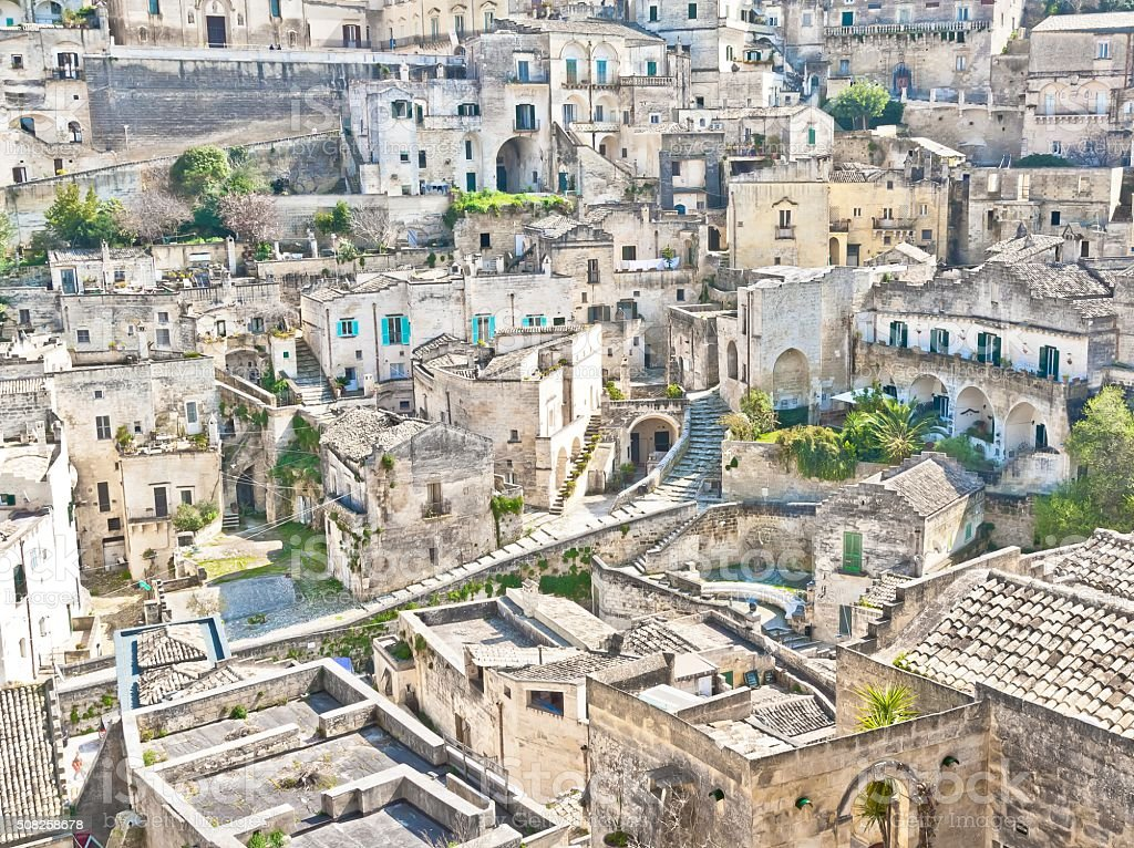 panoramic view of stones of Matera stock photo