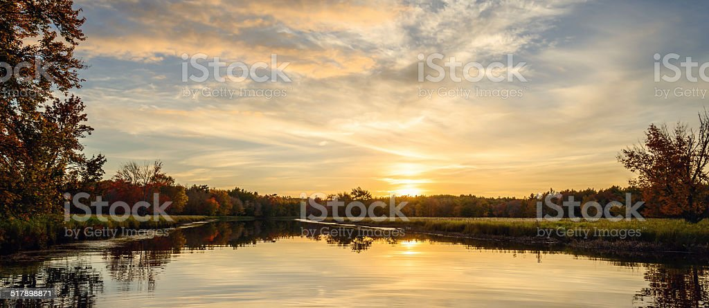 Panoramic view of sunset at Jakes landing stock photo