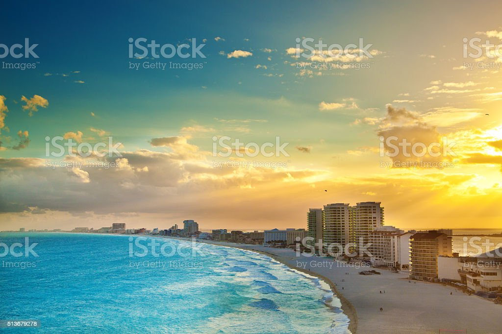 Panoramic View of Sunset at the Hotel District, Cancun Mexico stock photo