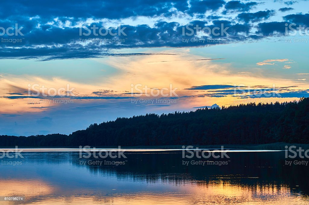 Panoramic view of sunset. Lemiet lake, Mazury, Poland. stock photo