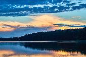 Panoramic view of sunset. Lemiet lake, Mazury, Poland.