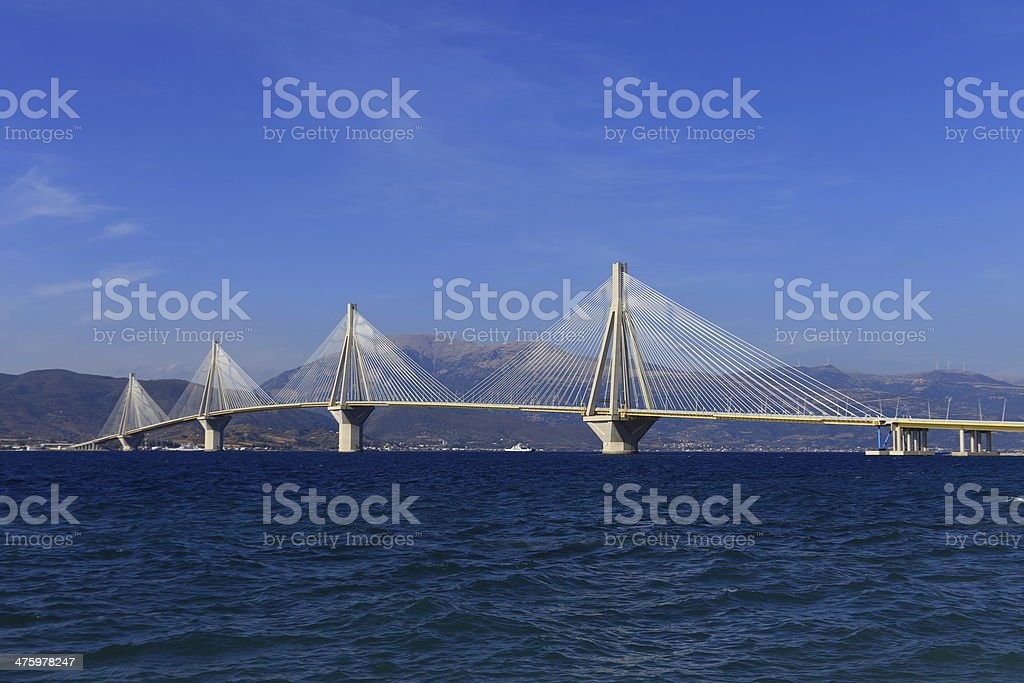 panoramic view of suspension bridge Rio - Antirio stock photo