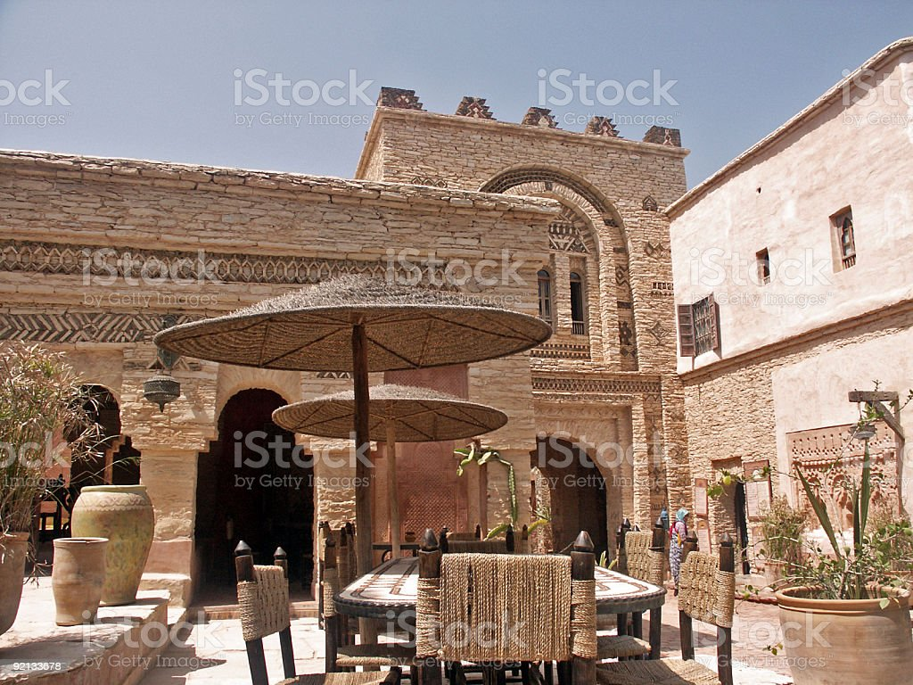Panoramic view of tables in a Kasbah stock photo