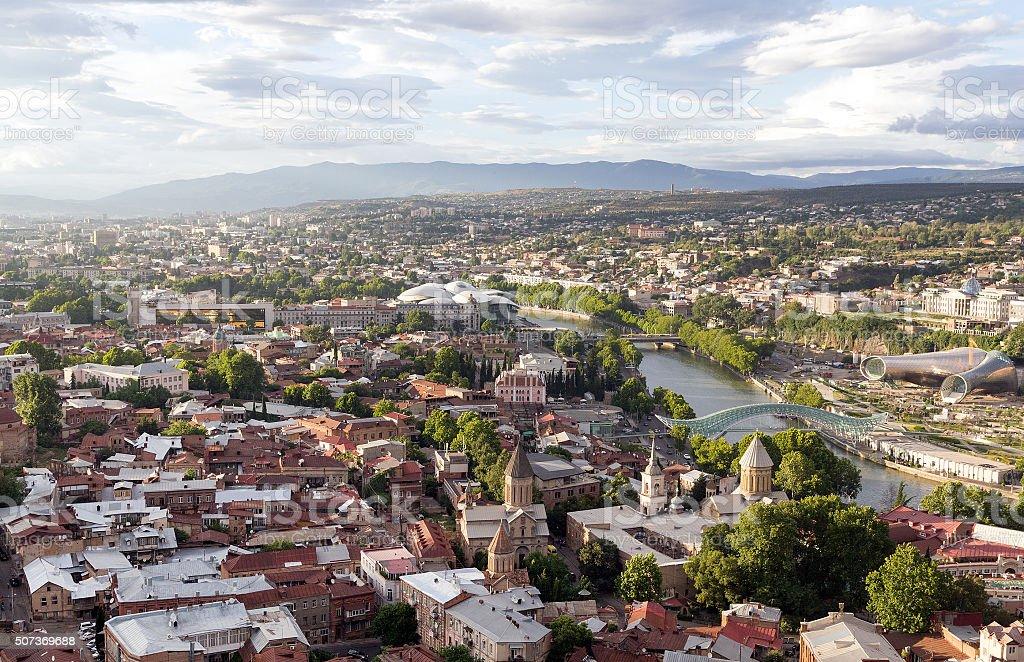 Panoramic view of Tbilisi, The Republic of Georgia stock photo