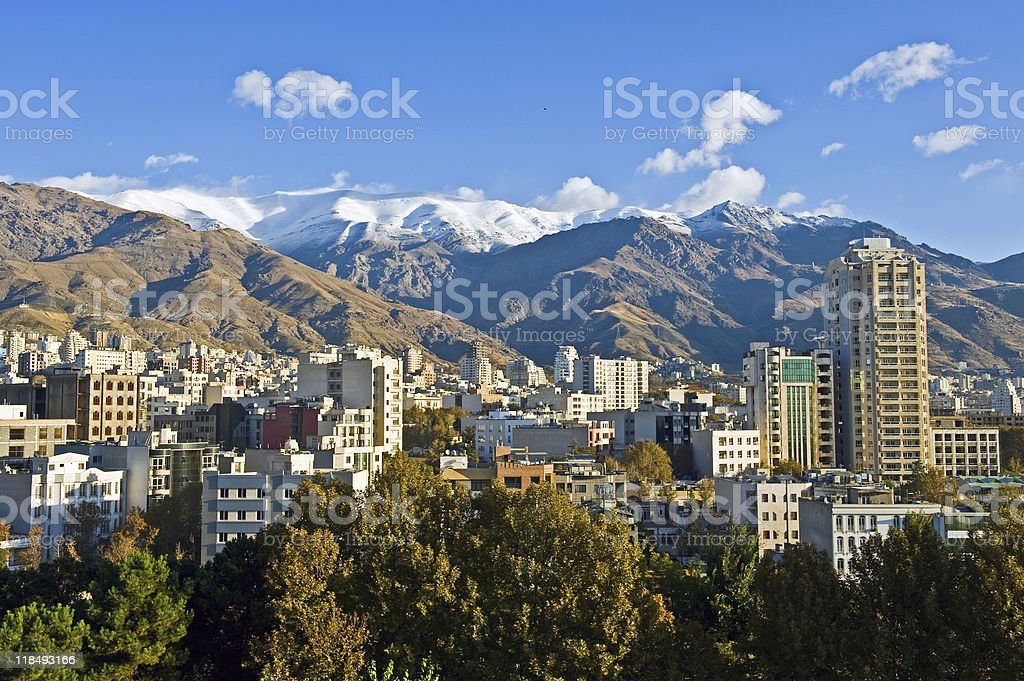 Panoramic view of Tehran with mountains on the background stock photo
